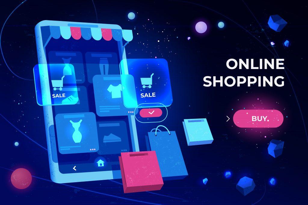 Dispositivo elettronico con icone dello shopping online
